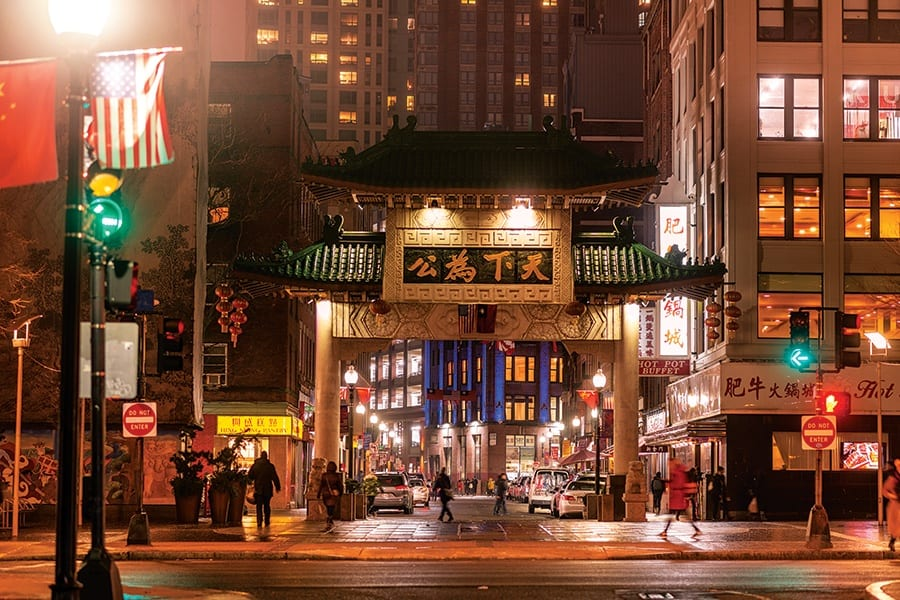 The chinatown gate in Boston, MA