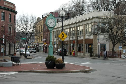The streets of cleary square in hyde park, ma.