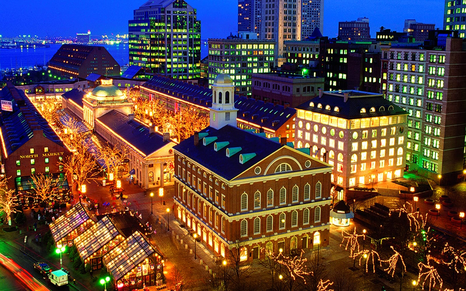 Night time of Faneuil Hall in Downtown Boston.