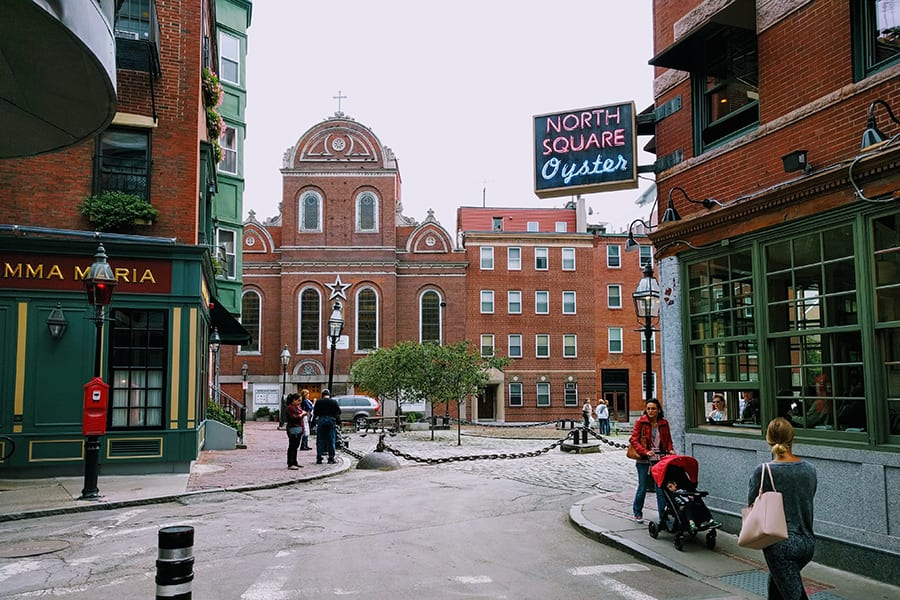Streets of North End in Boston, MA.
