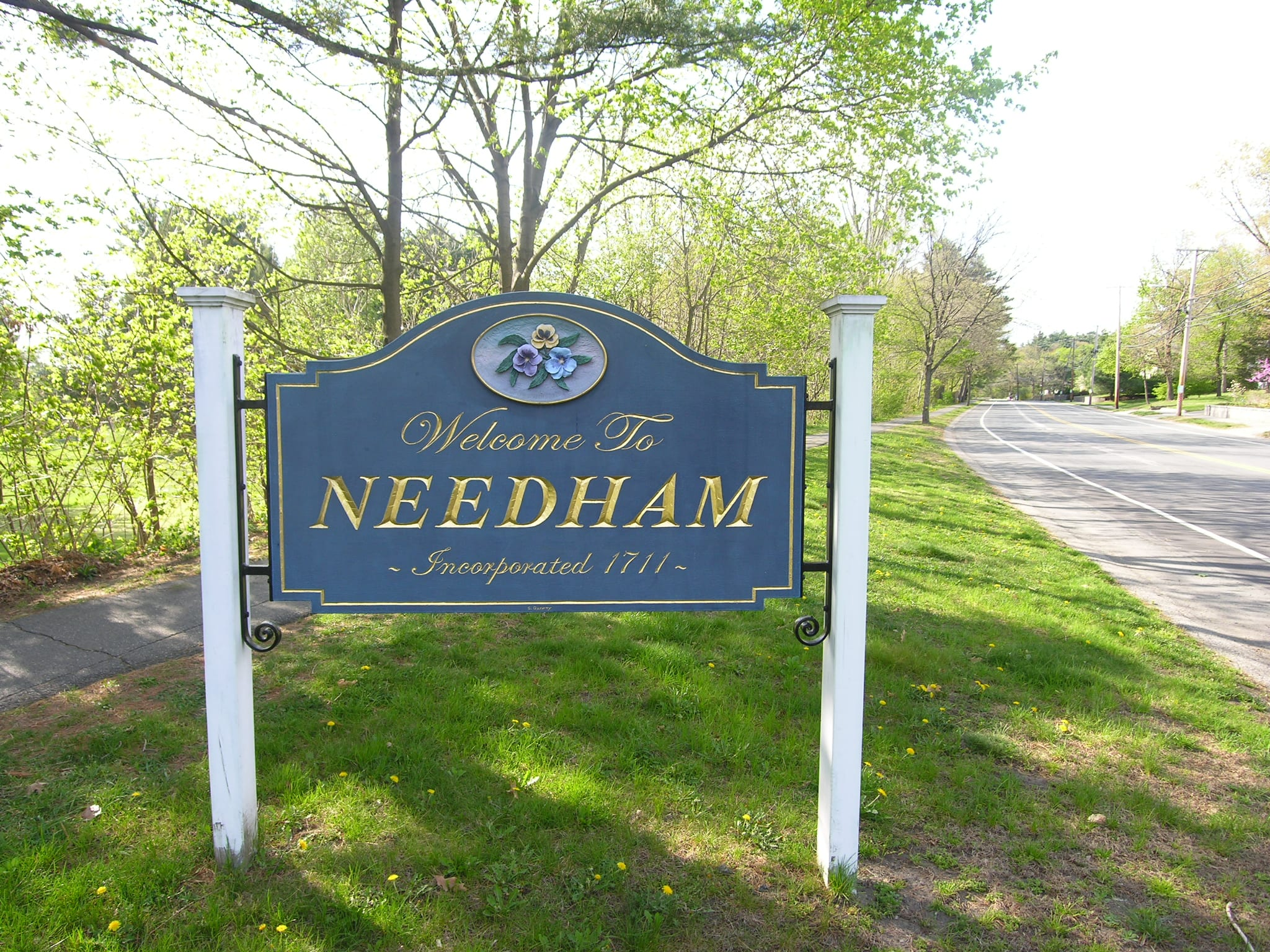 A Welcome sign to Needham, MA.