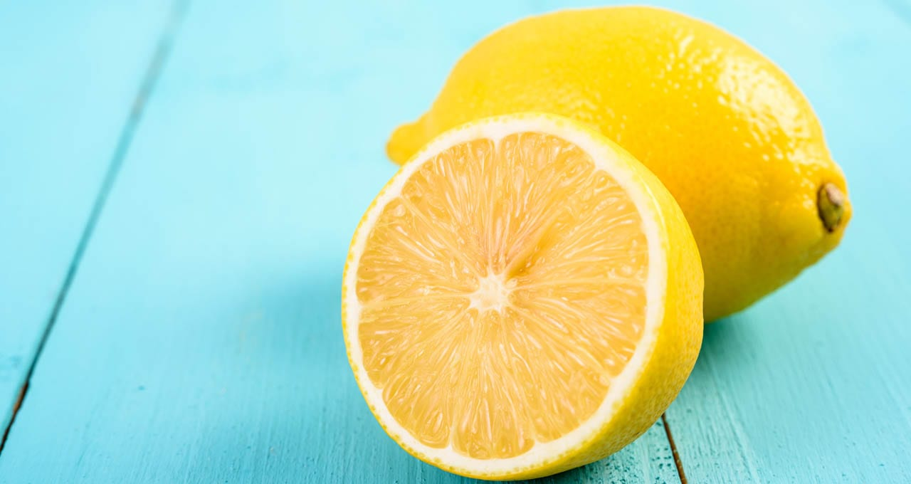 Fresh Lemon Citrus Sliced in Half